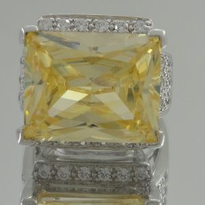Sterling Silver Fancy Yellow Pave Ring Diamonique